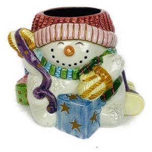 Fitz Floyd Candleholder Snowman Holiday Christmas